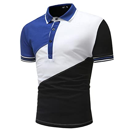 Clearance Lightning Sale Men's Tops,ZYooh Men's Polo Tee Shirt Button Turndown Collar Blouse Casual Patchwork Tshirt (White, M)