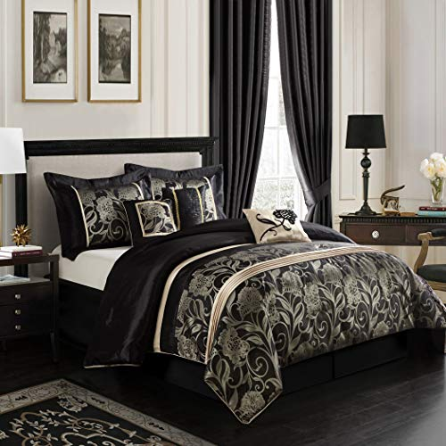 D&D 7pc Black Grey Gold Floral Motif Pattern Comforter Queen Set, Unisex, Vibrant Bold Colors, French Country, Stylish HighClass Damask Flowers Stripe Design, Luxury Moder ()