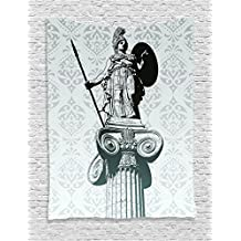 Sculptures Decor Tapestry Wall Hanging by Ambesonne, Statue of Athena on Pillar Baroque Background Ancient Greek Mythology Hellenistic Monument, Bedroom Living Room Dorm Decor, 60WX80L Inches, Black