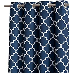 "HLC.ME Lattice Print Thermal Insulated Room Darkening Blackout Curtains for Bedroom - Navy Blue - 52"" W x 63"" L - Set of 2"
