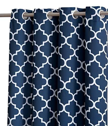 """HLC.ME Lattice Print Thermal Insulated Room Darkening Blackout Curtains for Bedroom - Navy Blue - 52"""" W x 63"""" L - Set of 2"""