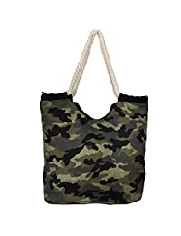 High Quality - Zippered, Rope Handle, Large Roomy Canvas Tote Beach Bag-Camouflage Prints