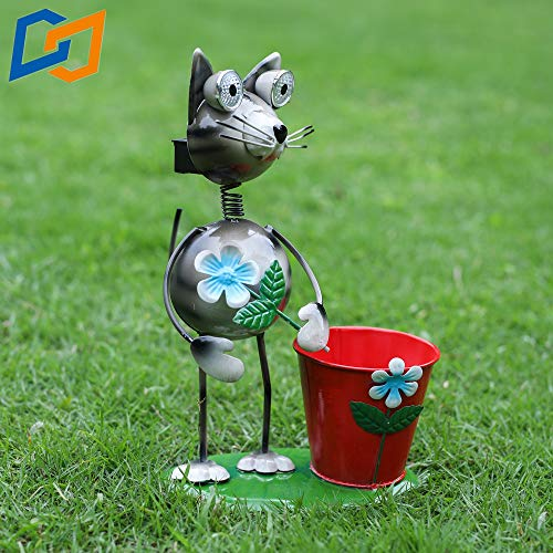 Solar Lights,Metal Art Outdoor Patio Decorative, Animal Decor Flowerpot Plant Container LED cat Lawn ,Metal Garden Decor,Lights for Path Yard Lawn Patio ()