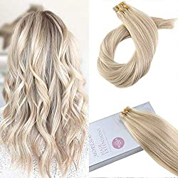 Moresoo 20inch Human Hair Extensions Tape on Human Hair Remy Hair Extensions Tape in Human Hair Color #18 Ash Blonde Highlighted with #613 Blonde 20PCS 50G Glue in Hair