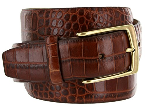 Brown Leather Designer Belt (Joseph Gold Buckle Italian Leather Alligator Embossed Designer Dress Belt (Brown,)