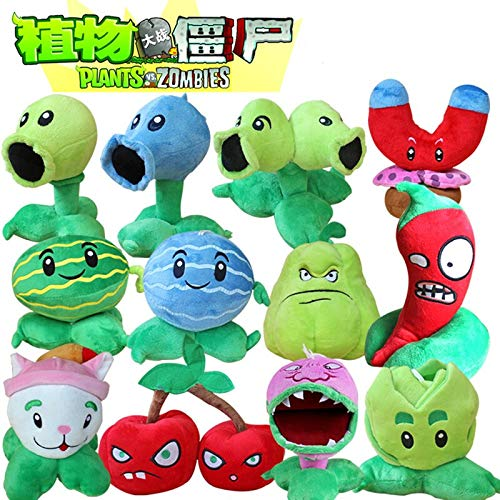 RAFGL 12Pcs/Lot 13-20Cm Plants Vs Zombies Plush Toy PVZ Plants Peashooter Chomper Cattail Plush Stuffed Toys for Kids Party Toys Gifts Must-Have Friendship Gifts Girl S Favourite by RAFGL