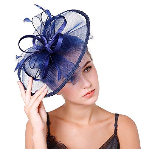 Song Qing Ladies Sinamay 1920s Fascinator Loop Headwear Feather Mesh Prom Hair Clip ()