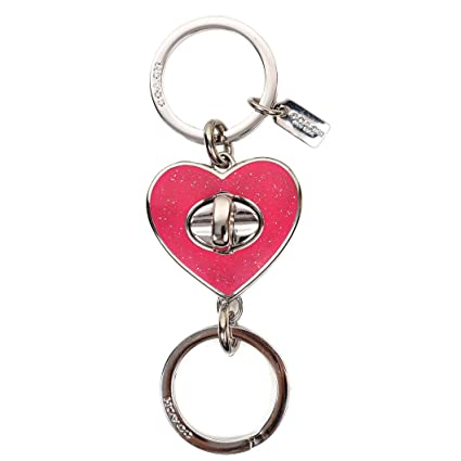 5c614164 Coach Glitter Enamel Love Heart Turn Lock Valet Key Chain Ring 58512