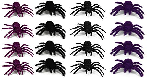 Set of 16 Prank Halloween Spiders Flocked with Glitter! Purple & Black! Perfect for Any Halloween Parties and Decorations! (16 Small Spiders) ()