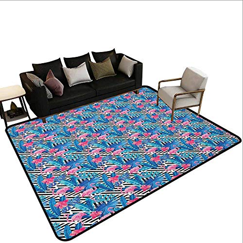 (Square Carpet Banana Leaf,Watercolor Tropic Pink Flamingos and Orchid with Blue Floral Plant Jungle Palm, Multicolor)