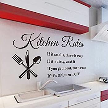Kitchen Rules Removable Vinyl Stickers Quote Wall Decals For Dining Room