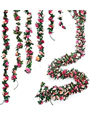 6pcs 49 FT Rose Vine Flowers Plants - BSTC Artificial Flower Fake Rose Vine Ivy Garlands Hanging for Wedding Party Garden Wall Decoration Silk Flowers Pink