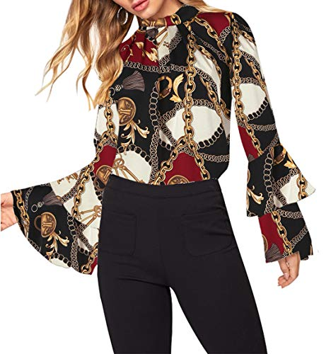 Women's Blouse Trumpet Sleeve Chain Print Loose Top Stand Collar Office Top Shirts Workwear (Black, M)