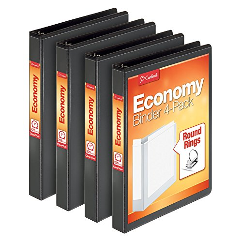 Cardinal Economy 1 Round-Ring Presentation View Binder, 3-Ring Binders, Holds 225 Sheets, Nonstick Poly Material, PVC Free, Black, 4-Pack (79512)