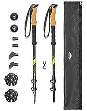 Cascade Mountain Tech Carbon Fiber Adjustable Trekking Poles - Lightweight Quick Lock Walking or Hiking Stick - 1 Set ( 2 Poles)