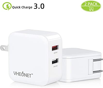 2 Quick Charge USB Wall Charger, VHEONET 30W Fast Charger3.0+2.4A Dual Ports Power Adapter with SmartID Foldable Plug for Samsung Galaxy, iPhone,