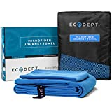 ECOdept Microfibre Travel Towel ~ Super Absorbent, Quick Dry & Antibacterial ~ Essential Backbacking, Camping, Gym, Sports, Swimming & Beach Gear ~ Large 132cm x 81cm with Free Hand Towel in Gift Box