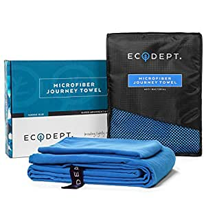 """ECOdept Microfiber Towel for Swimming, Travel, Camping, Backpacking, Gym, Sports and Beach ~ Super Absorbent, Quick Dry & Antibacterial ~ Large 52"""" x 32"""" with Free Hand Towel in Gift Box"""