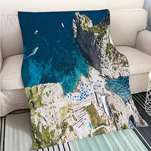 BEICICI Customized Comfortable 100% Soft Premium Blanket Aerial View of Beach and Cliff in Capri Island Sofa Bed or Bed 3D Printing Cool Quilt