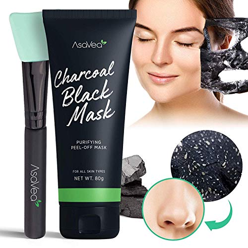 AsaVea Blackhead Peel Off Mask With Brush, Black mask, Blackhead Remover Mask, Purifying Black Peel off Charcoal Mask, Pore Removal Peel off Strip Mask Blackhead Acne Black Mud Facial Mask ()
