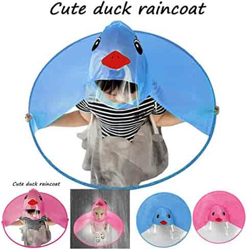 5db859218ebdf Children Raincoat Cute Cartoon Duck Rain Coat UFO Children Umbrella Hat  Magical Hands Free Raincoat (