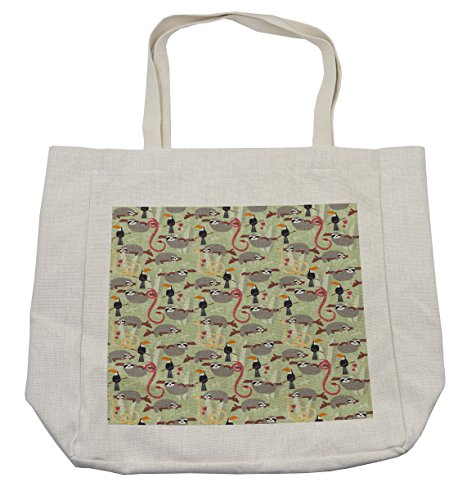 Lunarable Sloth Shopping Bag, Amazon Rainforest Inhabitants Toucans Whipsnakes and Sloths Animals of South America, Eco-Friendly Reusable Bag for Groceries Beach Travel School & More, (South America Costume Ideas)