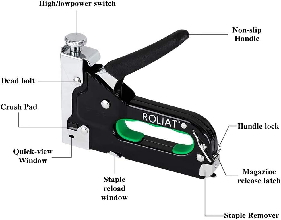 Muebles ROLIAT Kit de Trabajo Pesado de Pistola de Grapas con 2000 Grapas y Removedor Para Tapicer/íA Material de Fijaci/óN Carpinter/íA Decoraci/óN