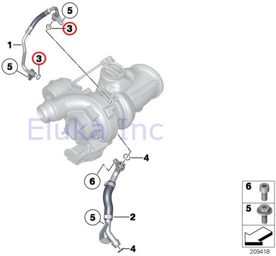 Engine Parts 11 X 1.78 Mm Feed Line 2 x BMW Genuine Oil Supply ...