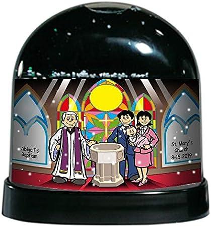 Amazon Com Printedperfection Com Personalized Ntt Cartoon Caricature Snow Globe Gift Baptism Female Home Kitchen