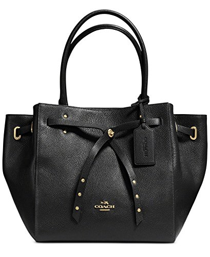 NEW AUTHENTIC COACH REFINED PEBBLE LEATHER TURNLOCK TIE TOTE SATCHEL BAG - Gathered Bag Hobo Leather