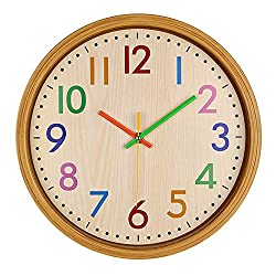 Bien-Zs Kids Cute Imitation Wood Wall Clock In Children's Bedroom 12.5 Inch Large Silent Non ticking Colorful Decorative Wall Clock Battery Operated Clocks-Easy To Read