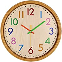 AIOLOC Kids Eco-friendlly Imitate Wood Wall Clock 12.5...