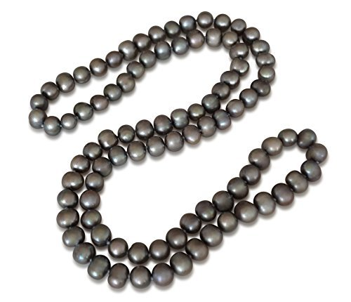 Collier en perles d'eau douce pull, perle d'eau douce cultivée, gris, pomme de terre, 8-9mm, 29.5 pouce