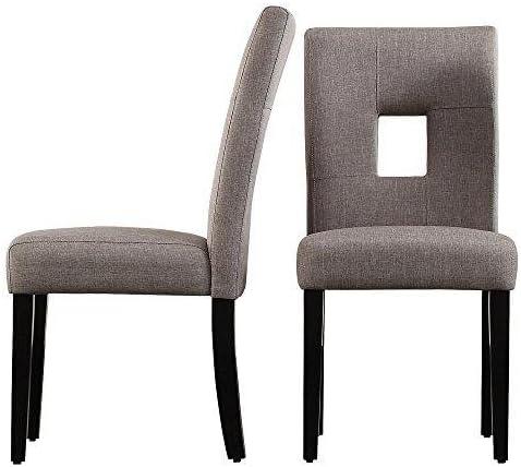 ModHaus Living ModHaus Modern Gray Linen Square Keyhole Dining Chair