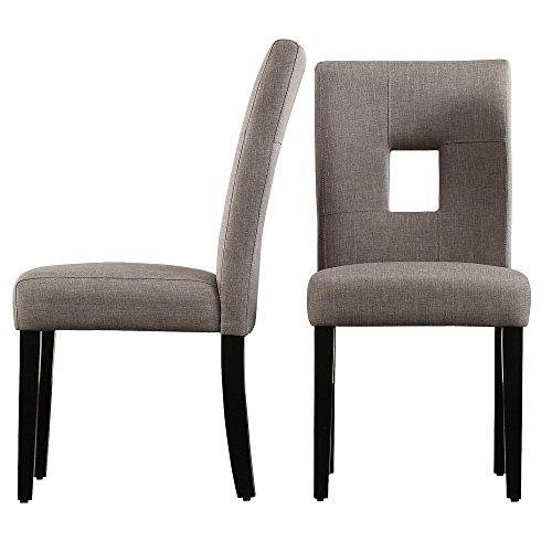 ModHaus Living ModHaus Modern Gray Linen Square Keyhole Dining Chairs | Black Finish Wooden Legs - Set of 2 Includes (TM) Pen - Side Chair Keyhole