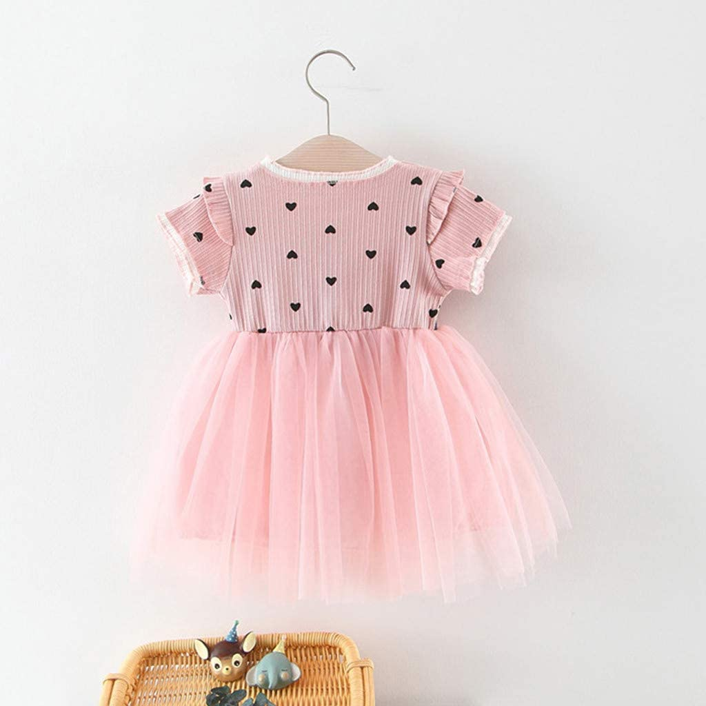 Fabal Toddler Baby Girls Ruched Patchwork Dot Tulle Skirt Party Princess Dress Clothes