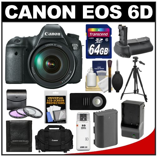 Canon EOS 6D Digital SLR Camera Body with EF 24-105mm L IS USM Lens with 64GB Card + Case + Battery and Charger + Battery Grip + Tripod + 3 UV/FLD/CPL Filters Kit, Best Gadgets