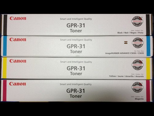 Canon GPR-31 OEM Genuine Toner Cartridge Combo for Canon ImageRunner C5030, C5035 Printer (BCMY One Each: 2790B003AA/ 2802B003AA/ 2798B003AA/ 2794B003AA