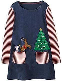 AK.SSI Vestito da Principessa delle Bambine Vestito a Maniche Lunghe di Cartone Animato di Natale Vestito Carino Autunno in Cotone 1 pz