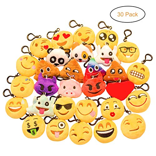 (Zagtag 30PCS Emoji Keychain Mini Plush Pillows, Party Supplies Decorations, Birthday Party Favors Goody Bags)