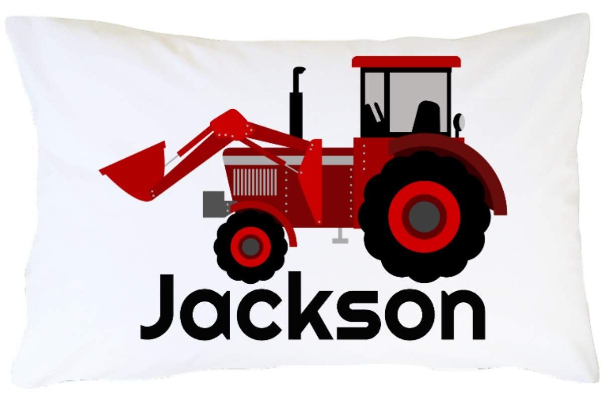 CLB Goods Tractor Pillowcase Personalized Gift for Kid Boy Toddler Tractor Lover Christmas Stocking Stuffer Birthday Easter Basket Stuffer, Red Farm Tractor Customized Name Pillow Case Slip by CLB Goods