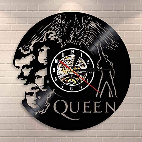 YUN Clock@ Reloj de Pared de Vinilo Placa Reloj Upcycling 3D Queen Band Diseño de Reloj de Pared de decoración Vintage de Reloj de Pared Decoración Retro de Reloj Fabricado en Alemania: