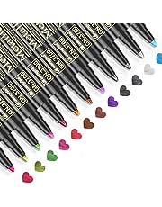 Baozun Metaliczne markery, 12 kolorów, metaliczne pisaki do księgi gości, na wesele, urodziny, album fotograficzny w kolorze czarnym