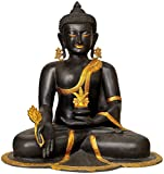 CraftVatika Large Antique Finish Healing Medicine Buddha Statue Brass Handmade Buddhism sculpture Thai Shakyamuni Big Idol