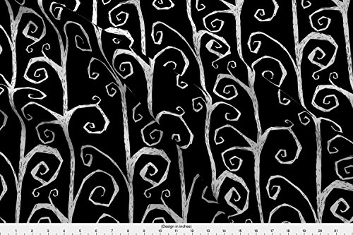 Spoonflower Halloween Fabric - Burton's Vines - Black - Designed by Thecalvarium - Fabric Printed On Fleece Fabric by The -