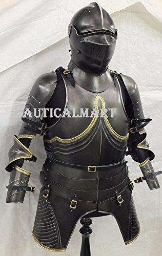 NAUTICALMART Medieval Breastplate Black Knight Suit Armor Wearable Costume