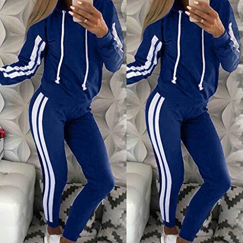Courir Pull Hauts Sportwear Courtes À bleu Mode Manches Capuche Cordon Impression Splice Couple Sweat Lâche Zipper Ensemble Longues Stripe Poche 2 Pantalon Long Casual Sport Femmes wqxROaqUp