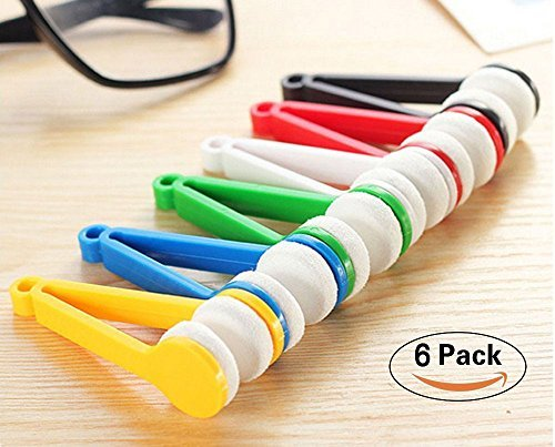 Mini Eyeglass Microfiber Cleaner, Soft Brush Cleaning Tool for Sun Glasses, Spectacles 6 Pcs (Random Color)