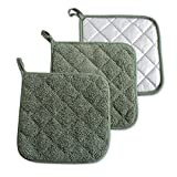 DII 100% Cotton, Machine Washable, Heat Resistant, Everyday Kitchen Basic, Terry Pot Holder 7 x 7
