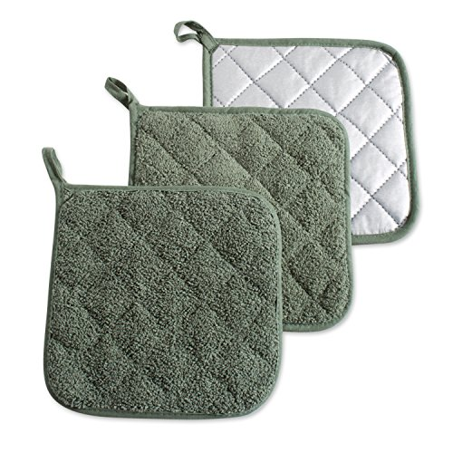 DII 100% Cotton, Machine Washable, Heat Resistant, Everyday Kitchen Basic, Terry Pot Holder 7 x 7